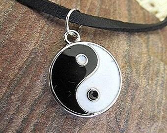 Yin yang choker necklace leather choker yin yang leather choker yin yang necklace vegan grunge choker boho choker gift.