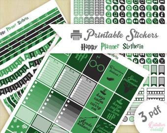 Harry Potter maison Serpentard |Printable stickers | 3 pdf | Téléchargement instantané | Planner, Happy planner