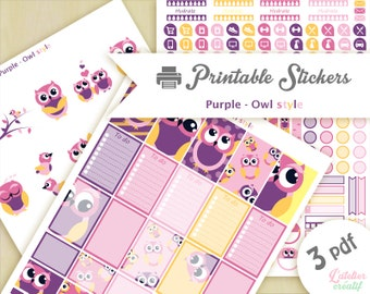 owl purple, yellow, pink, parma | Printable stickers | 3 pdf | Instant download | Planner, Happy planner