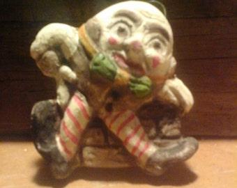 ORIGINAL HANDMADE Humpty Dumpty  Chalkware Ornament