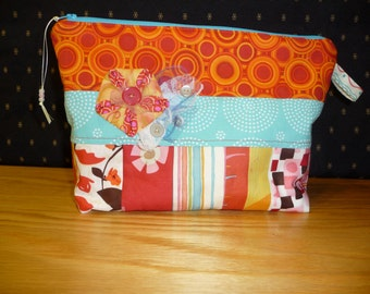 Project bag, FREE SHIPPING!!! Dimensional folded flower embellished with vintage buttons and lace, Cosmetic bag, Kindle bag, Knitting bag