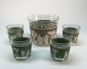Jeanette Hellenic Grecian ice bucket and s/4 drink glasses