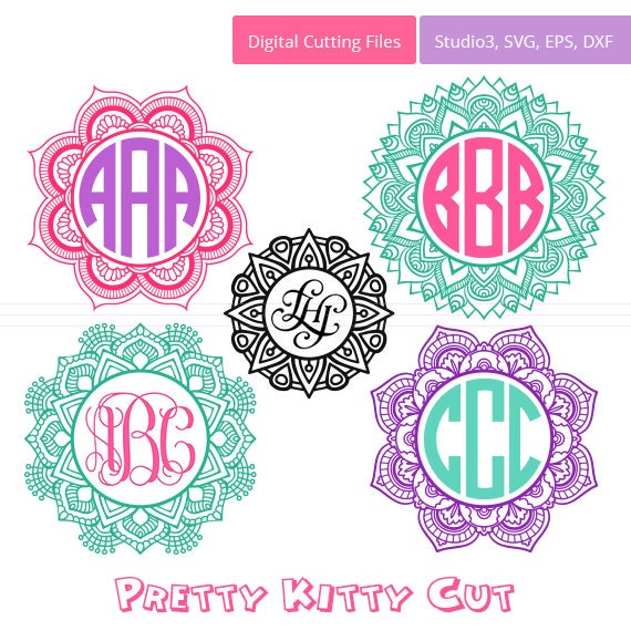 Mandala Svg Circle Monogram Frames Instant Download Cut