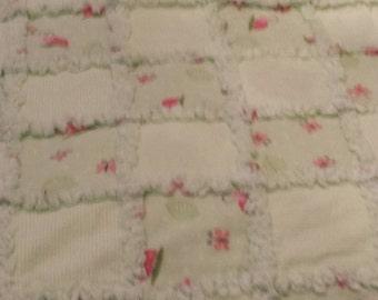 Light Lime Green White Pink Butterflies Bugs Rag Quilt