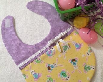 Cute Easter Baby Girl Bib Lavender - Bunny Baby Bib - Cute Baby Bib