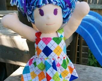 Rainbow Checked Doll Jumper