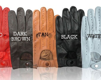 Genuine leather Men's driving gloves