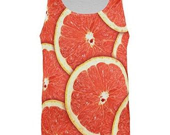 Grapefruit Citrus All Over Adult Tank Top