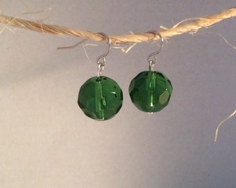 Green faceted glass sphere earrings