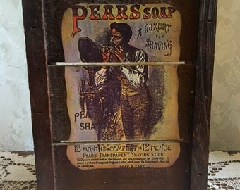 Vintage Pears' Soap Collectible Pallet Wood Picture with Man