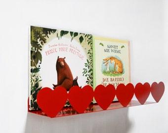 Red hearts shelf nursery room kid's room