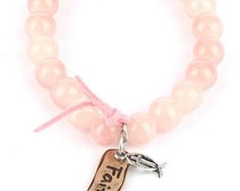 Pink message charm bracelet natural stone faith aged finish