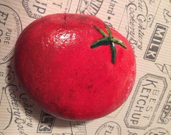 Painted TOMATO paperweight.  Painted Rock / painted stone. Paperweight practical joke