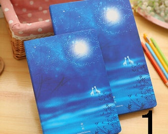 Fairy notebooks. Blue misty journal. Night atmospherical diary with animals and landscapes.
