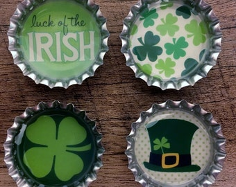 St. Patrick's Day Irish bottle cap magnets refrigerator magnets, party favors