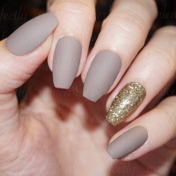dark nude matte and gold glitter handpainted false nails. Black Bedroom Furniture Sets. Home Design Ideas