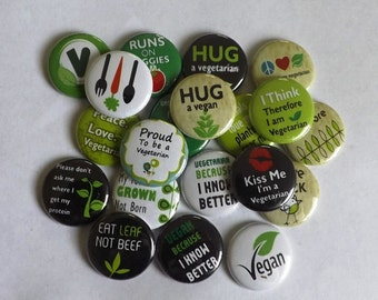 "Vegetarian/Vegan 1.25"" Buttons (set of 12)"