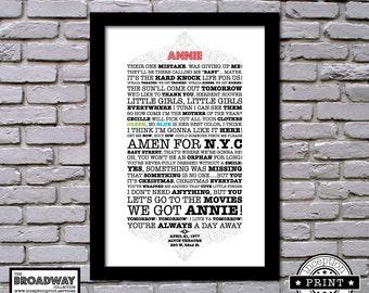 Annie - Framed - Quotes - Lyrics - Typography Print