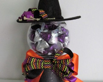 Clay Pot Witch Inspired Candy Bowl, featuring Handmade Bows and a Witch Hat