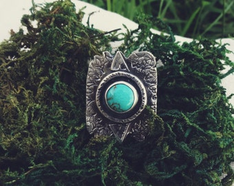 Sterling silver southwestern inspired turquoise ring sz 7