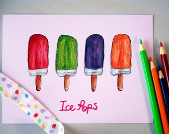 Ice pops illustration art print