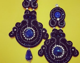 Soutache blue agate earrings
