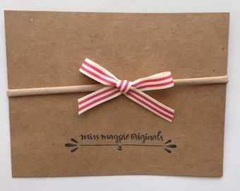 Red & Cream ribbon mini