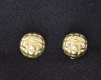 Vintage Gold Tone Quilted Button Clip-On Earring