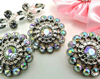 AB IRIDESCENT Rhinestone Buttons Acrylic Rhinestone Buttons Pin Wheel Shaped Rhinestone Buttons Coat Buttons Fashion Buttons 26mm 3186 14R