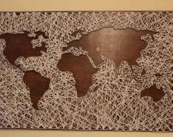 Handmade String Art World Map