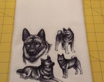 NORWEGIAN ELKHOUND Collage Sketch Embroidered Kitchen Hand Towel, Williams Sonoma All Purpose, 100% cotton & Extra Large, Made In Turkey
