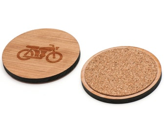 Motorcycle Wooden Coasters Set of 4, Gifts For Him, Wedding Gifts, Groomsman Gifts, and Personalized