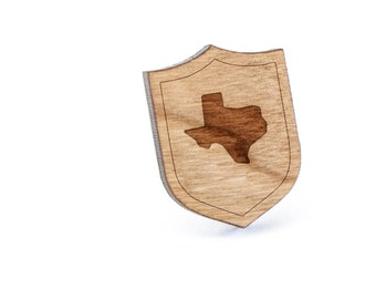 Texas Lapel Pin, Wooden Pin, Wooden Lapel, Gift For Him or Her, Wedding Gifts, Groomsman Gifts, and Personalized