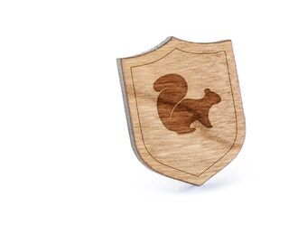 Squirrel Lapel Pin, Wooden Pin, Wooden Lapel, Gift For Him or Her, Wedding Gifts, Groomsman Gifts, and Personalized