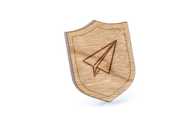 Paper Airplane Lapel Pin, Wooden Pin, Wooden Lapel, Gift For Him or Her, Wedding Gifts, Groomsman Gifts, and Personalized