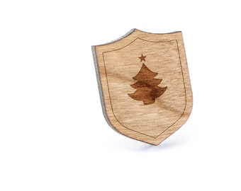 Christmas Tree Lapel Pin, Wooden Pin, Wooden Lapel, Gift For Him or Her, Wedding Gifts, Groomsman Gifts, and Personalized