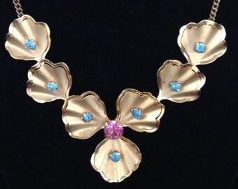 1950's Vintage Flower Necklace-Rhinestone Flower Necklace-Retro Gold Flower Jewelry- Statement Necklace