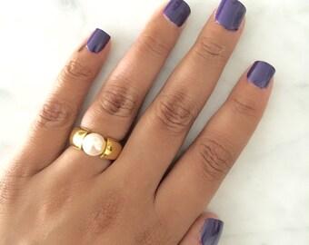 GOBSTOPPER Freshwater Pearl Gold Ring