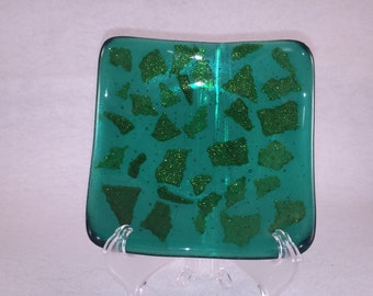 Fused glass trinket dish, green glass with flecks of sparkly adventurine green confetti, candle holder, trinket tray,