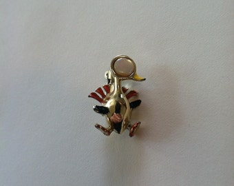 Vintage Mother of Pearl Gold-Tone Turkey Brooch