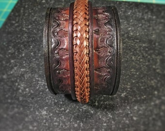 Bold Leather Cuff Bracelet • Braided Closure • Handmade • MM2