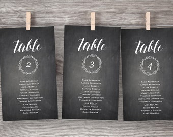 Chalkboard Wedding Seating Chart, Printable Hanging Seating Plan, Table Card, Seating Cards, Instant Download, Editable Text, PDF Template