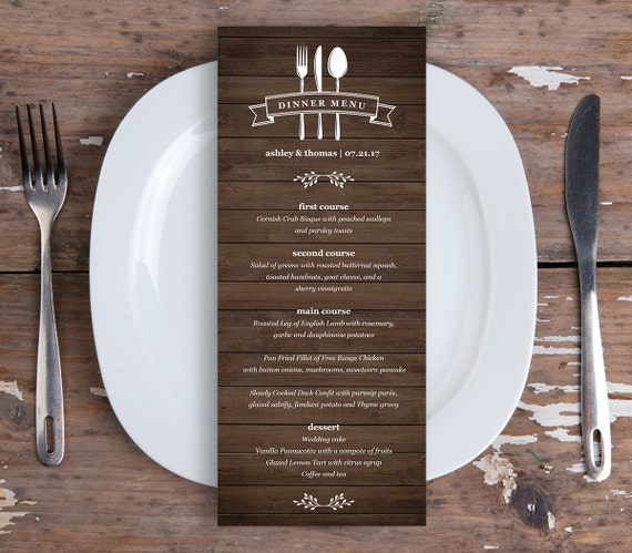 dinner menu template for home - items similar to dinner menu card template printable