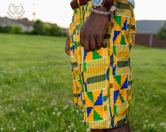 Men's Kente Shorts; African Clothing; Mens' Fashion Wear; Shorts; Kente; African
