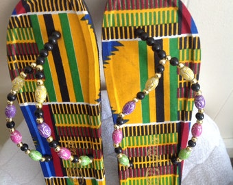 Colorful Kente flip flop; Sandals; Kente; Beaded slippers