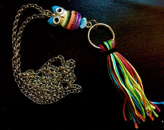 Owl Necklace / Multi-Colored tassle / 30in Chain