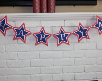 Happy 4th banner-Happy Fourth of July banner-Fourth  of July decor-Fourth of July party-Patriotic banner-independence day decor-Star banner