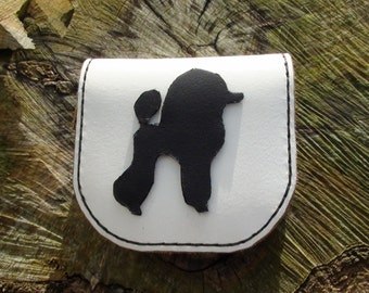 Leather coin purse with poodle or custom motif