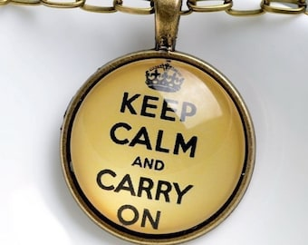 Victory Vintage Wedding Favour Keep Calm & Carry On Pendant and Chain - With Tissue Paper and Box - 1940s Wartime WW2 VE Day
