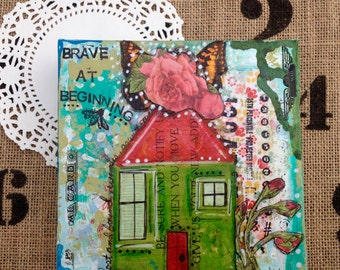 Brave At Beginning is a original piece of art. It is made on a deep sided 6x6 canvas